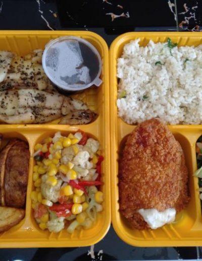 Potato Wedges - Garlic Butter Rice, Grill Dory Lada Hitam - Chicken Cordon Bleu & Sauteed Veggies