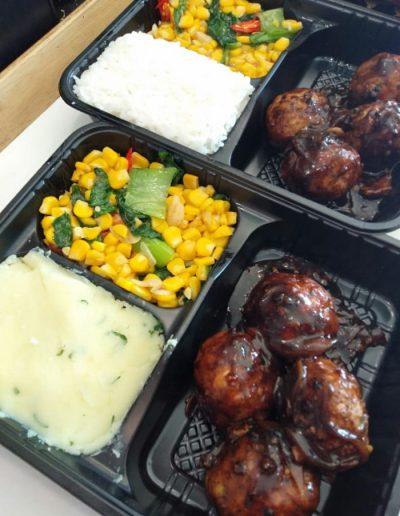 White Rice,Pokcoy Corn & Bola Ayam Lada Hitam only 35,000